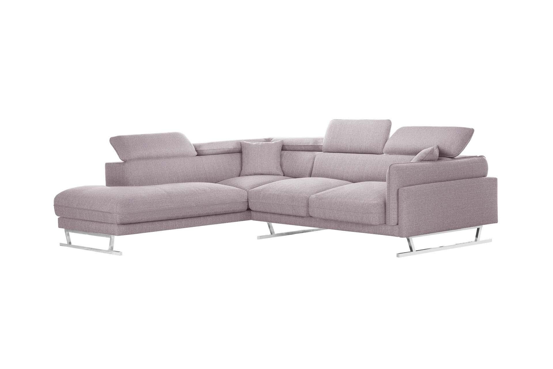 Canapé d'angle gauche 6 places toucher lin rose poudré