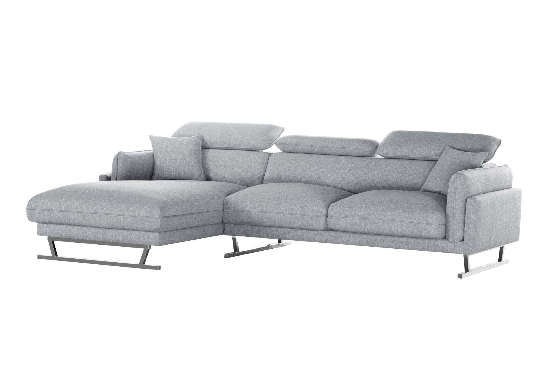 Canapé d'angle 5 places Gris Tissu Design Confort