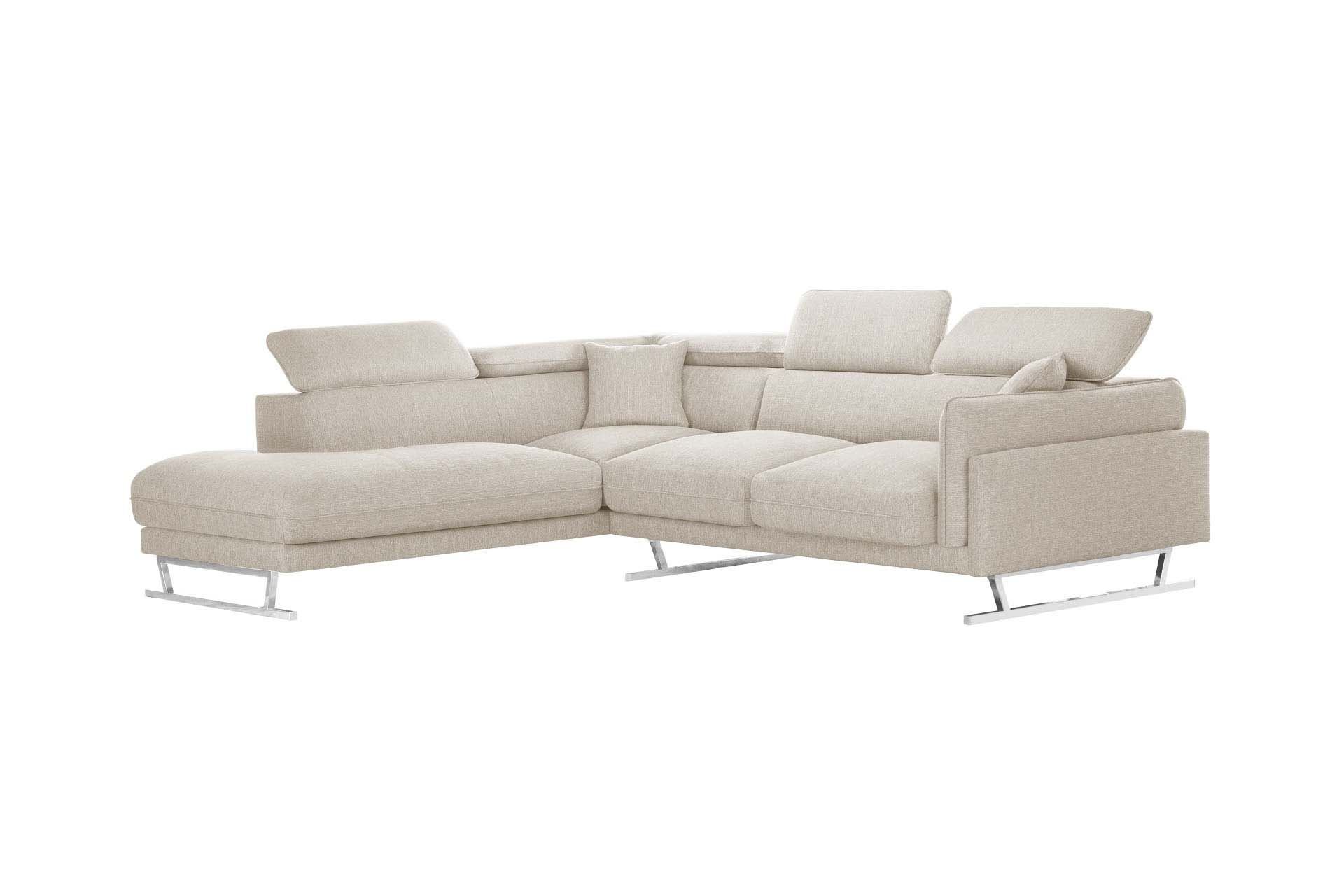 Canapé d'angle gauche 6 places toucher lin crème