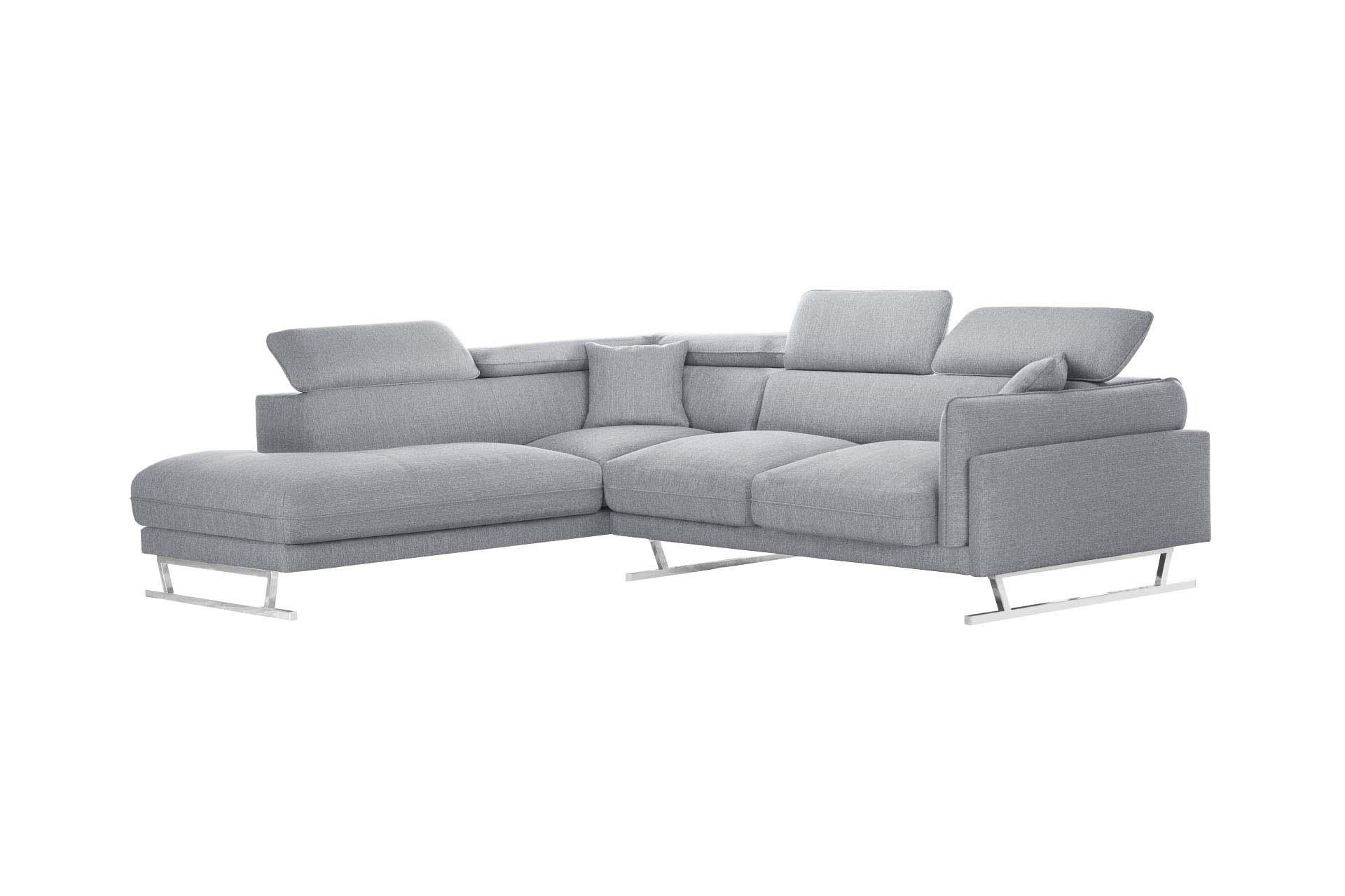 Canapé d'angle gauche 6 places toucher lin gris