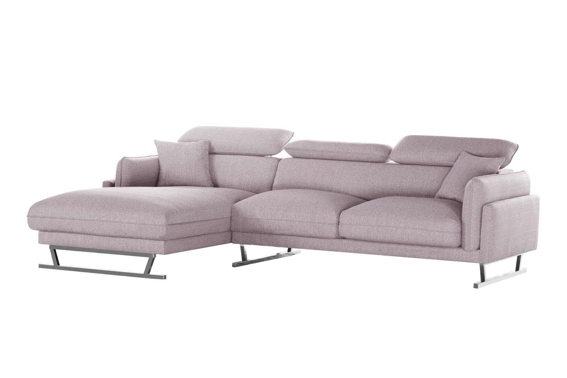Canapé d'angle 5 places Rose Tissu Design Confort