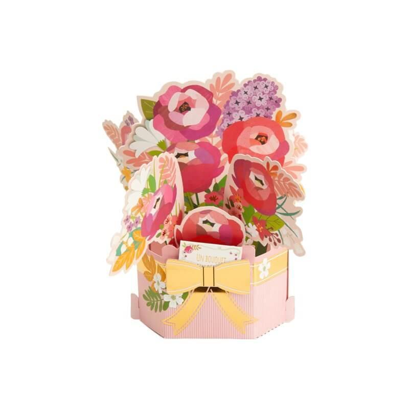 Carte pop up 3d - bouquet de pivoines
