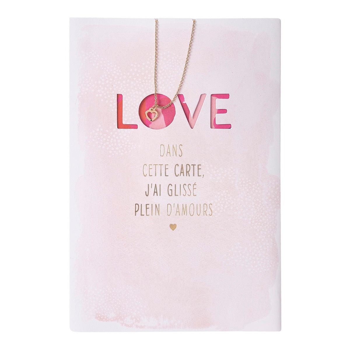 Carte amour collier coeur