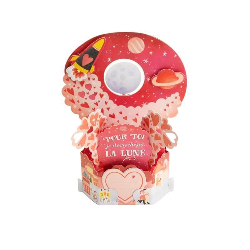 Carte saint-valentin pop up 3d - petits coeurs