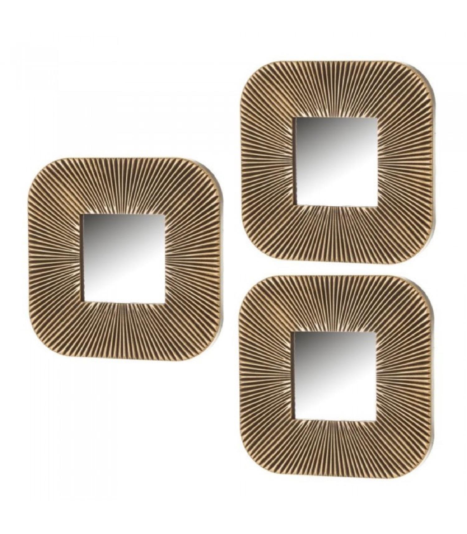 Set de 3 miroirs carrés dorés 25x25