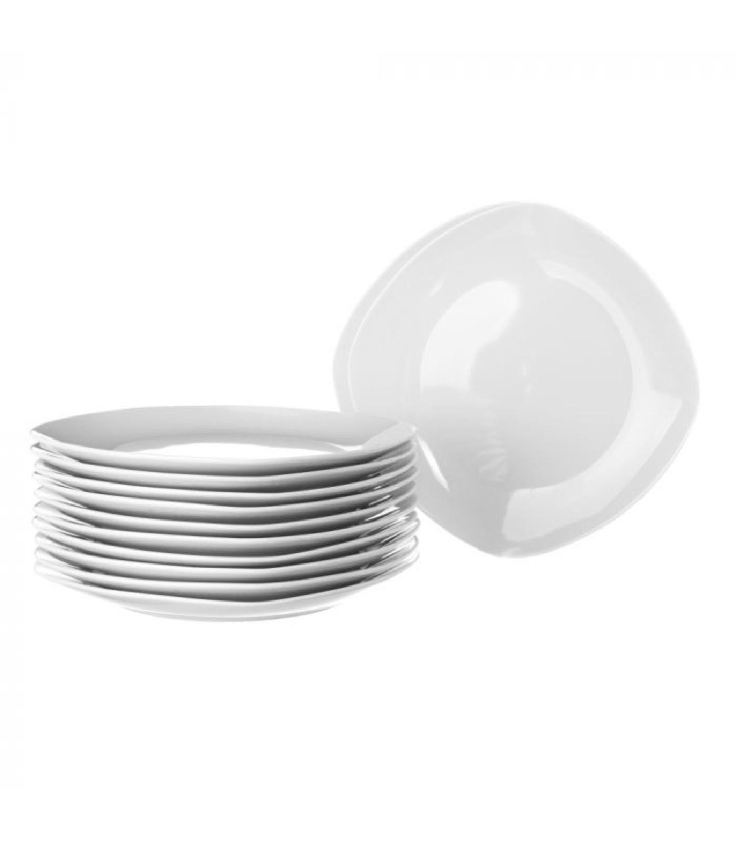 Assiette à dessert carrée en porcelaine blanche - Lot de 12