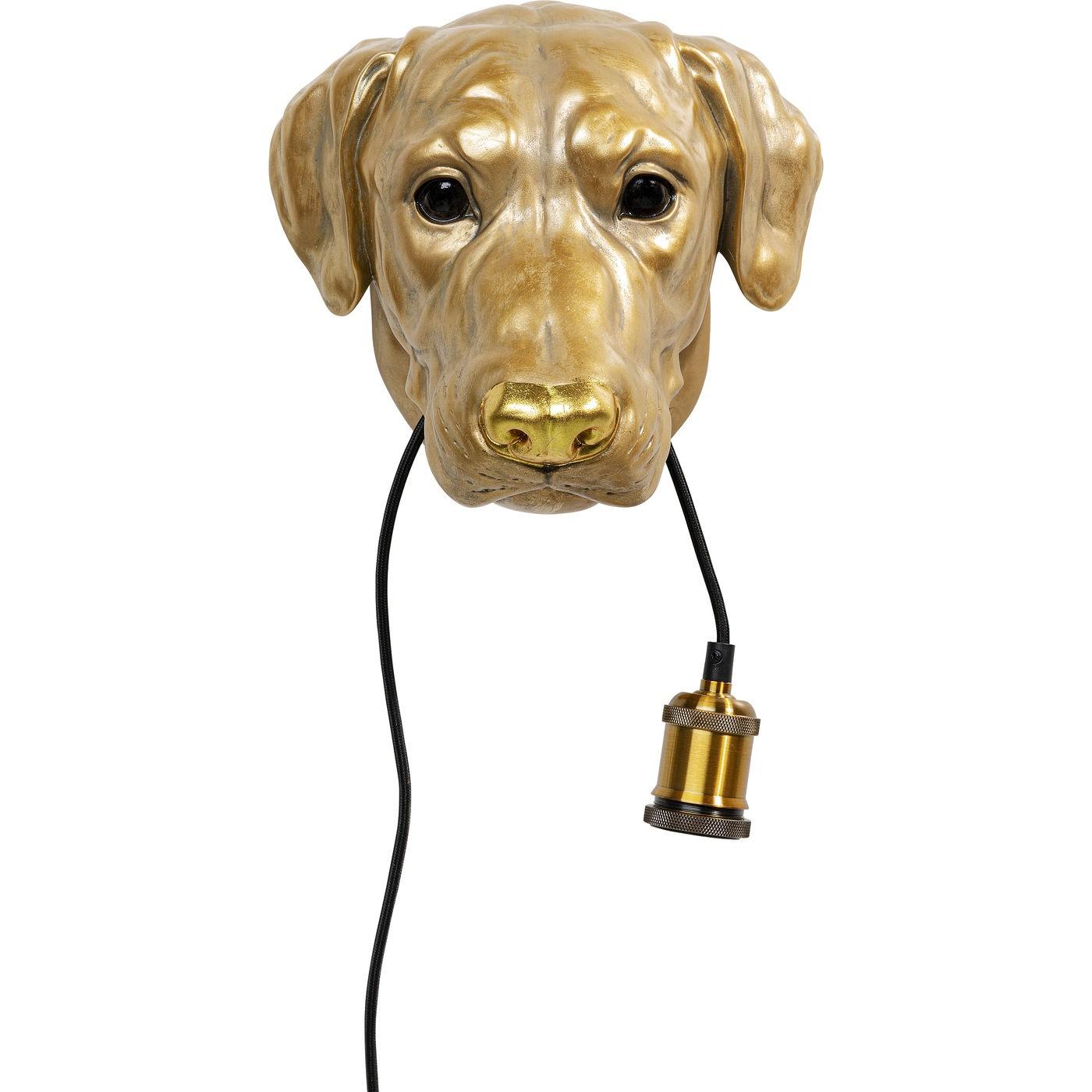 Applique chien en polyrésine dorée