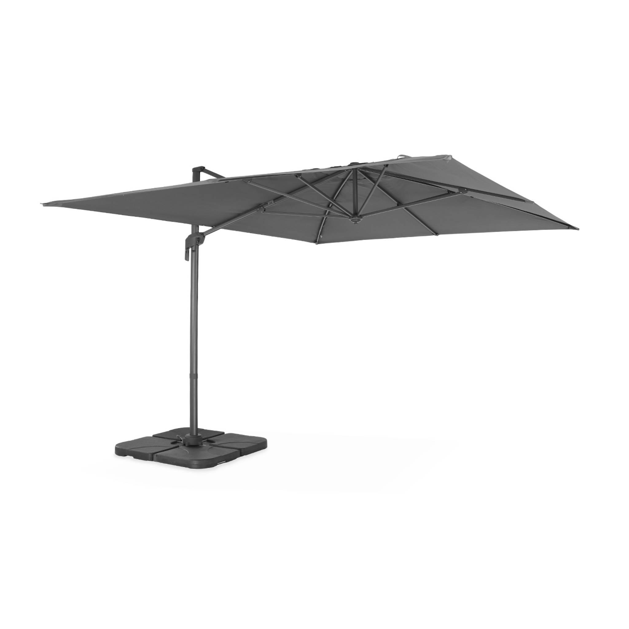 Parasol déporté rectangulaire 3 x 4 m en aluminium gris