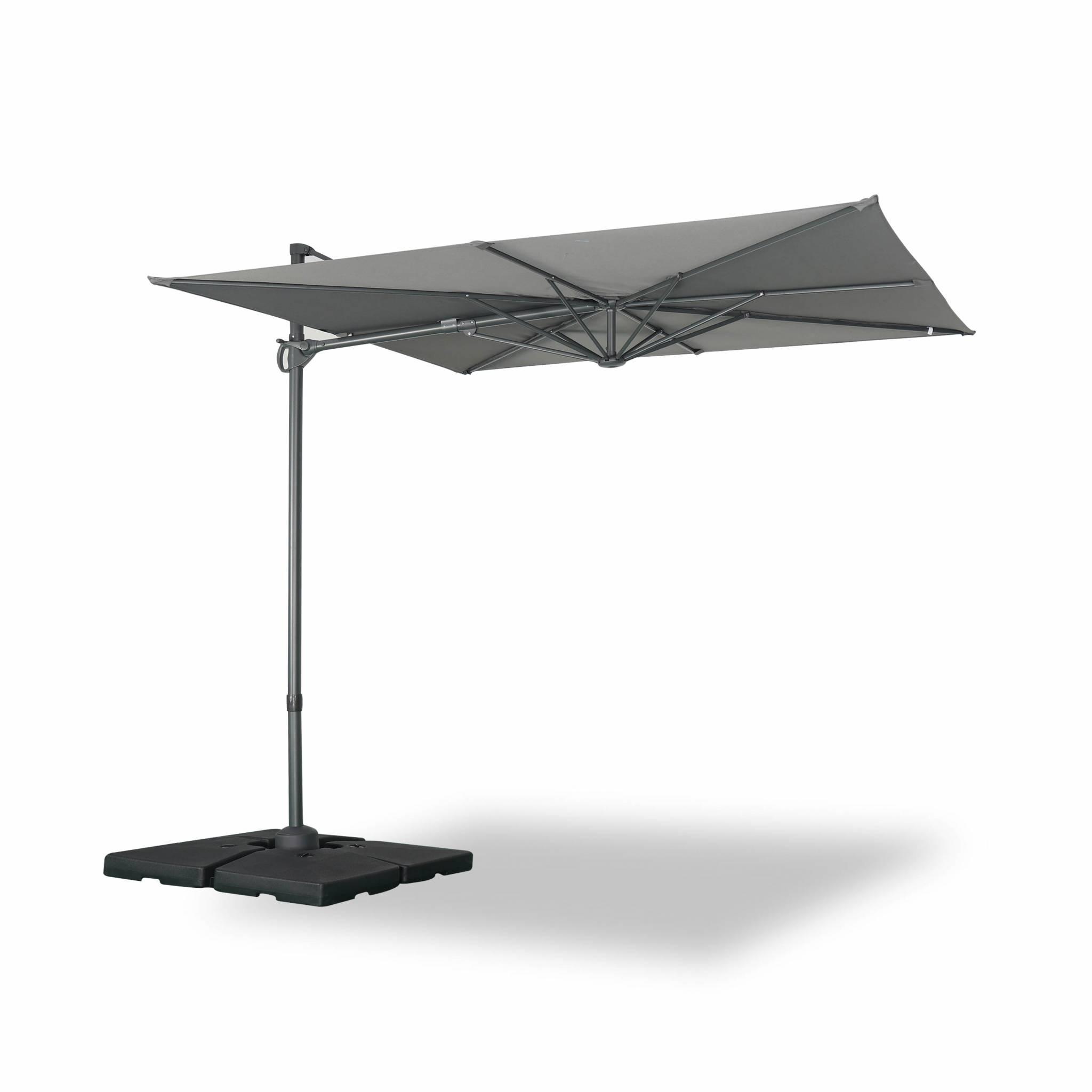 Parasol déporté carré 250 x 250 cm en aluminium gris