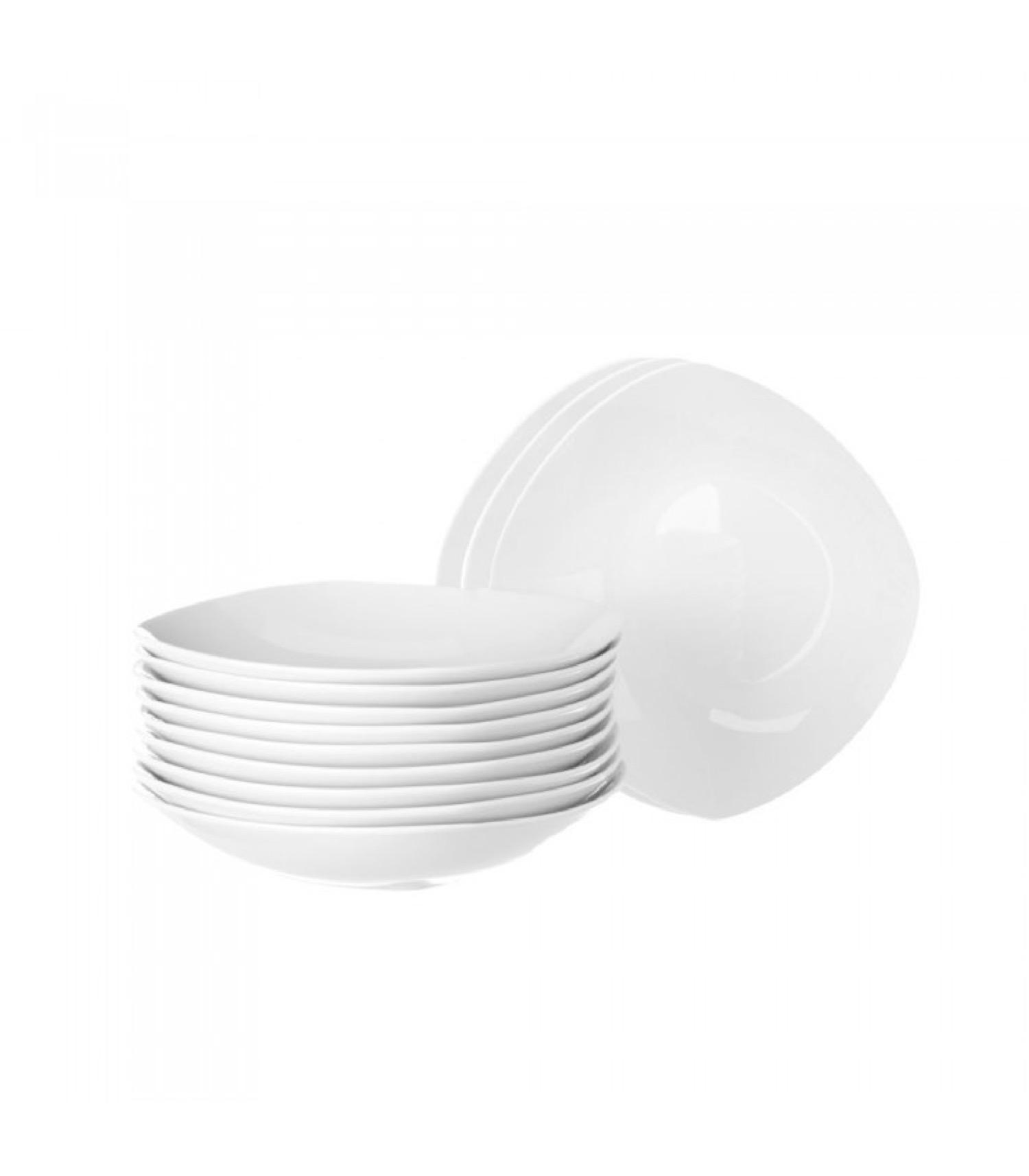 Assiette à soupe carrée en porcelaine blanche - Lot de 12
