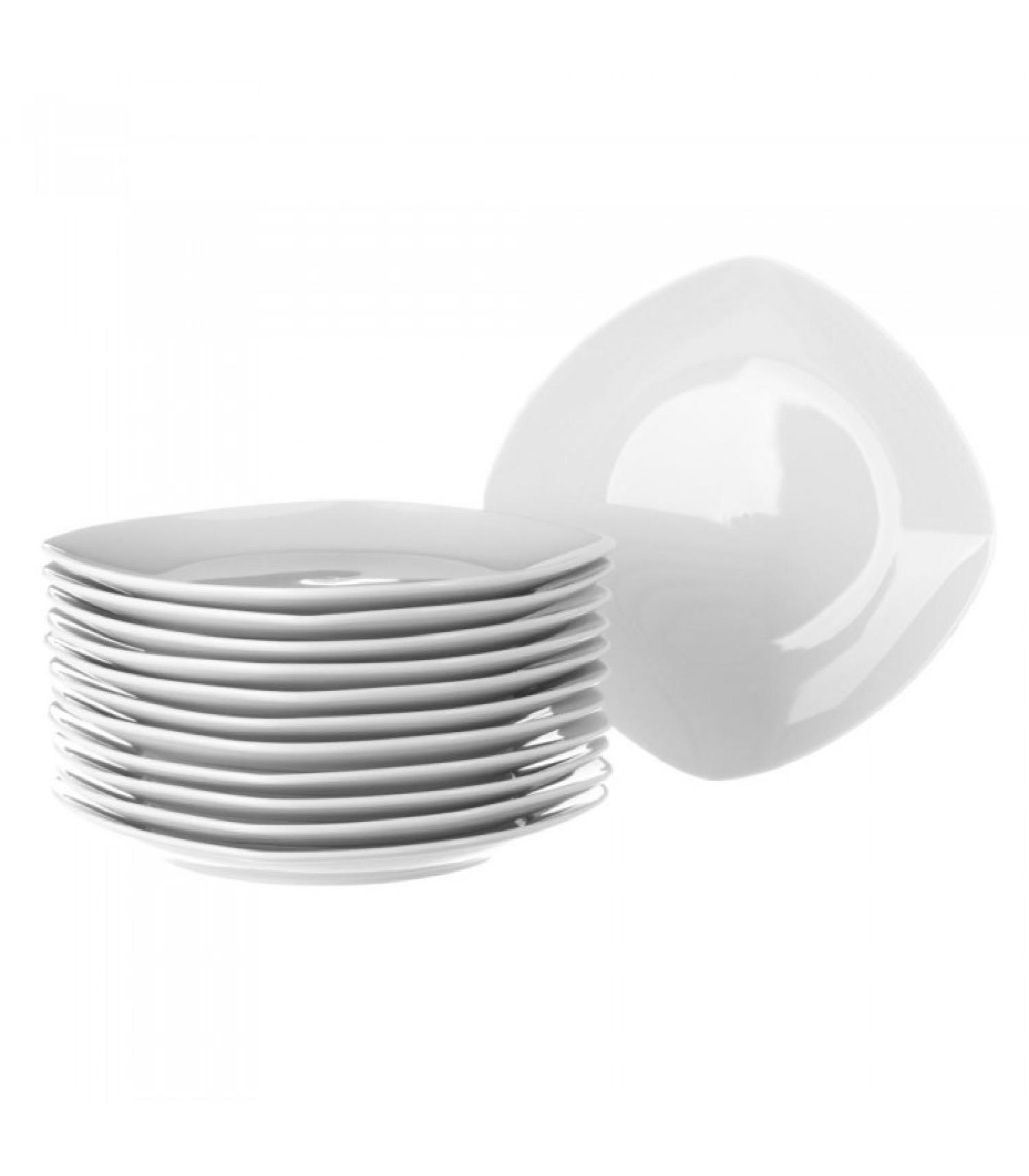 Assiette plate carrée en porcelaine blanche - Lot de 12