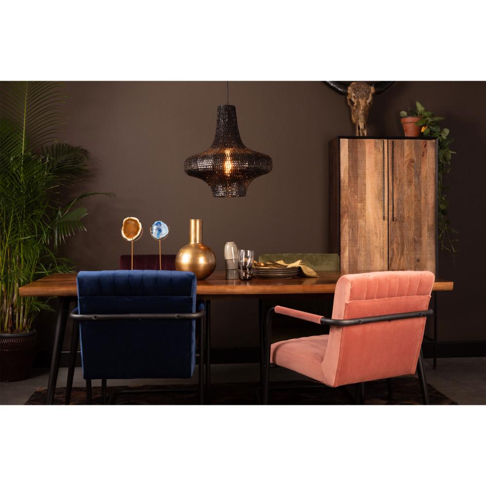 2 fauteuils de table en velours bleu marine