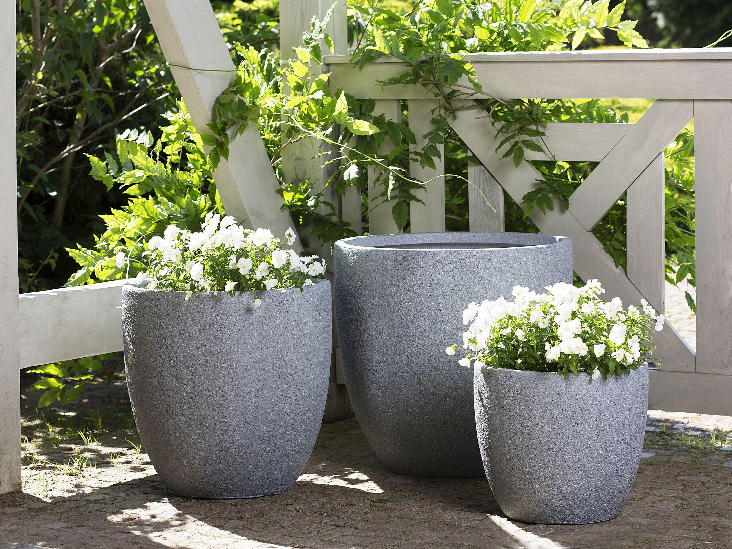 3 cache-pots gris