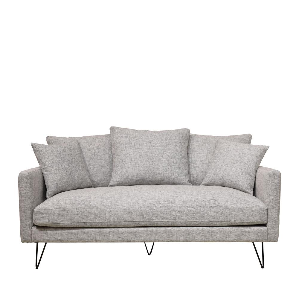 Canapé 3 places en tissu pieds épingles noirs gris chiné