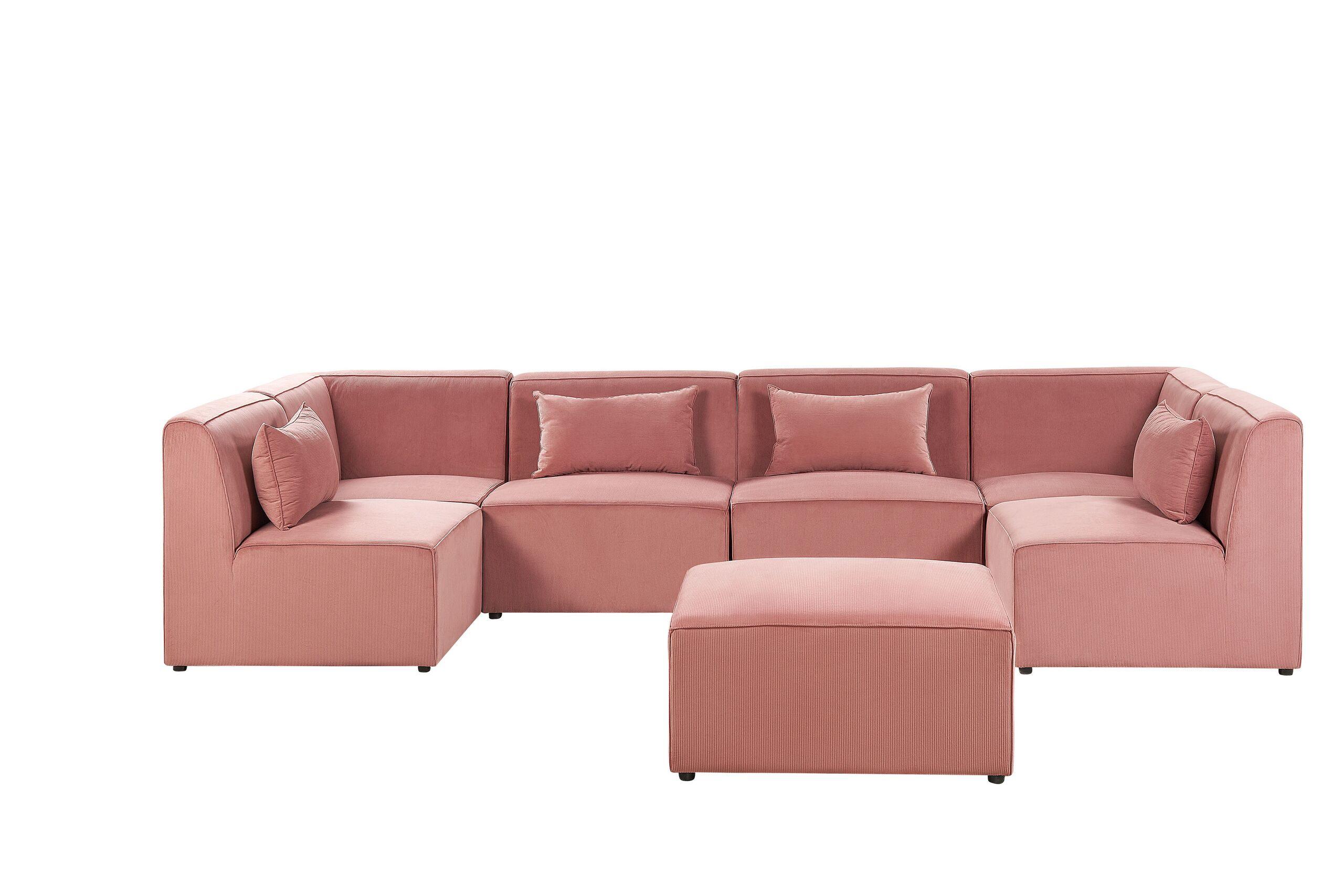 Canapé d'angle 6 places Rose Velours Moderne Grand
