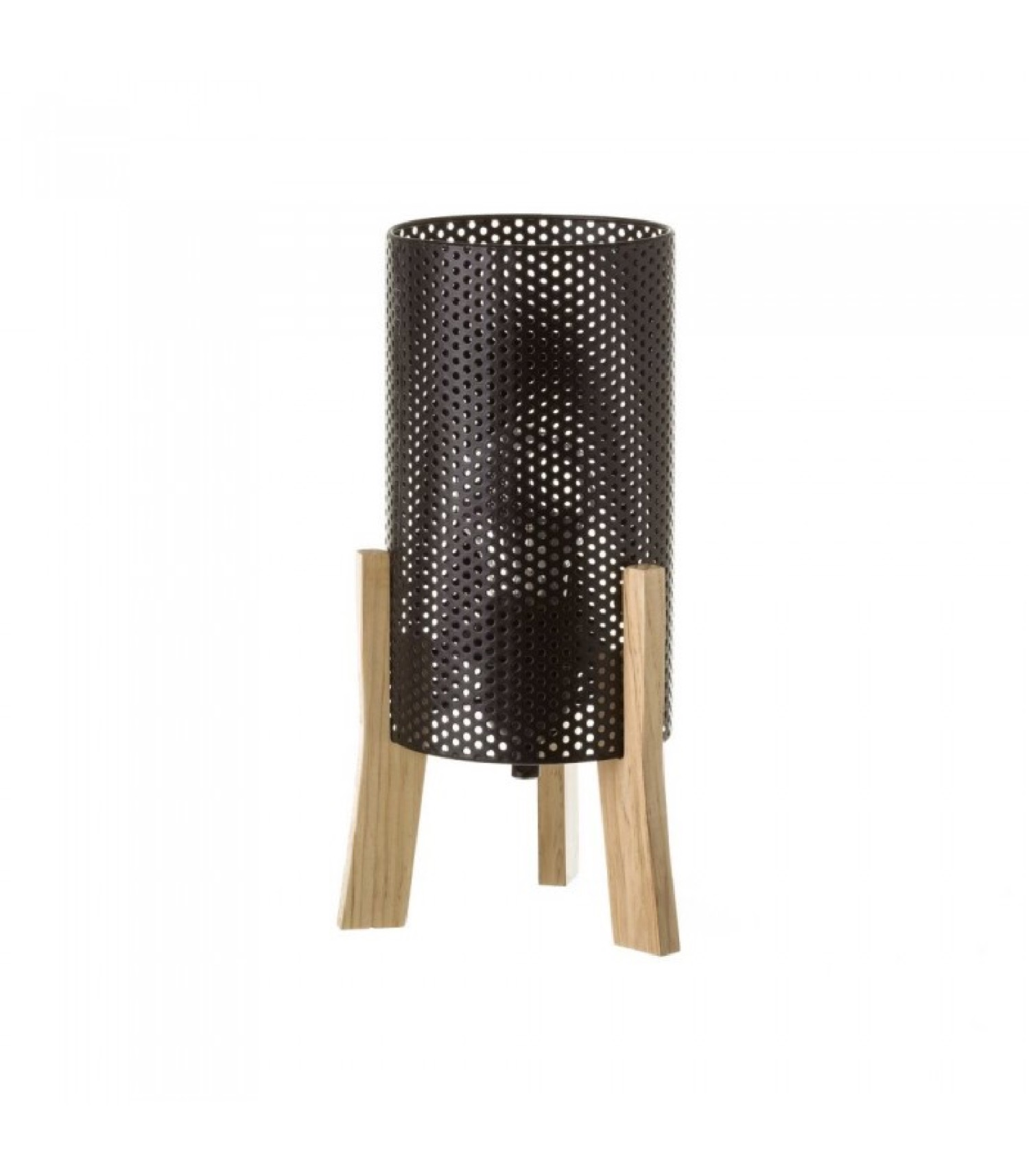 Lampe à poser en bois et métal noir H29,5cm