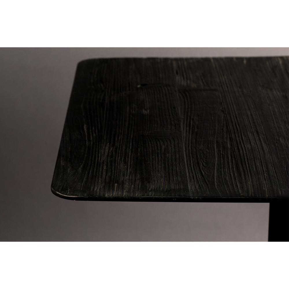 Table de bar carrée en métal et bois 70x70cm noir