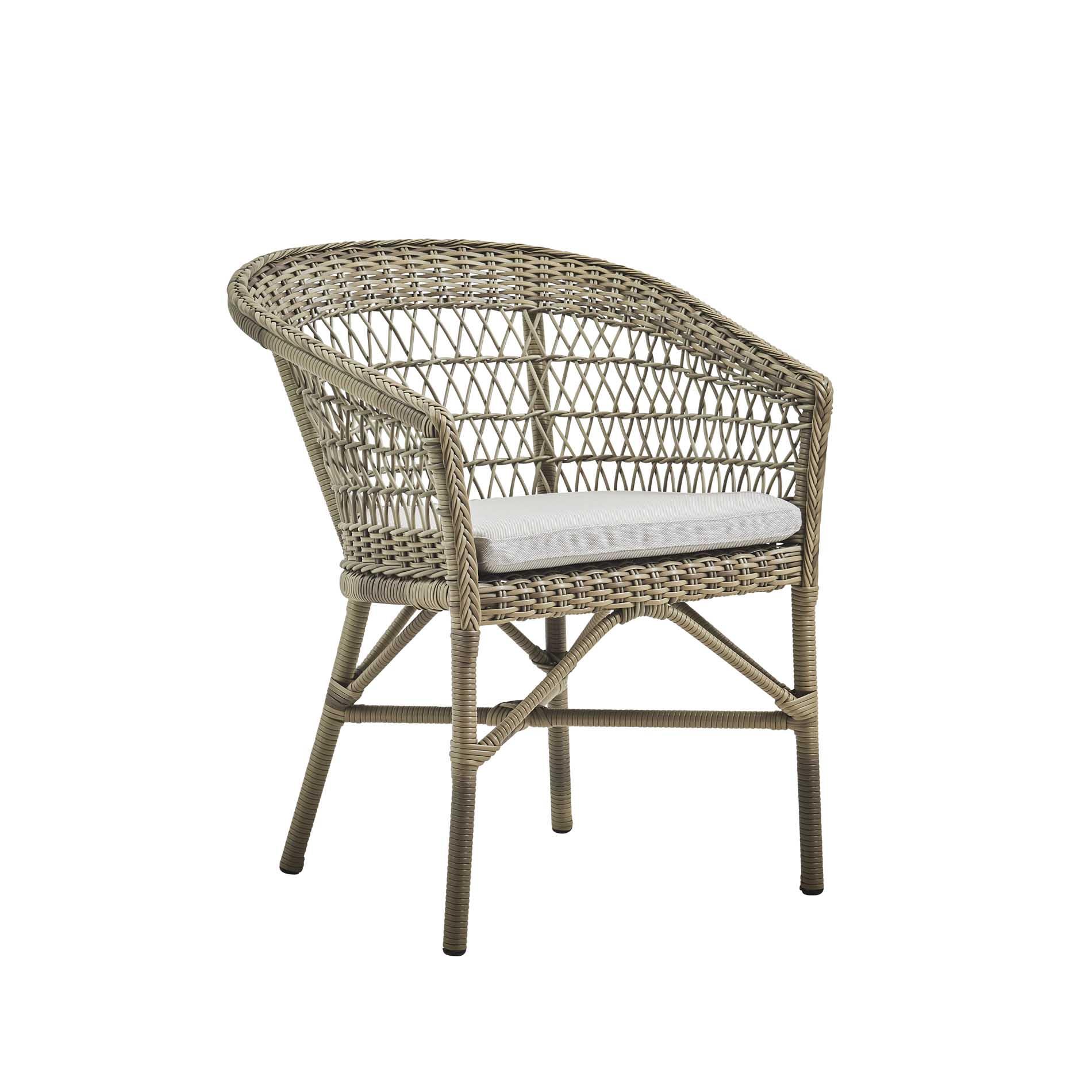 Chaise repas empilable aluminium et fibre synthétique taupe