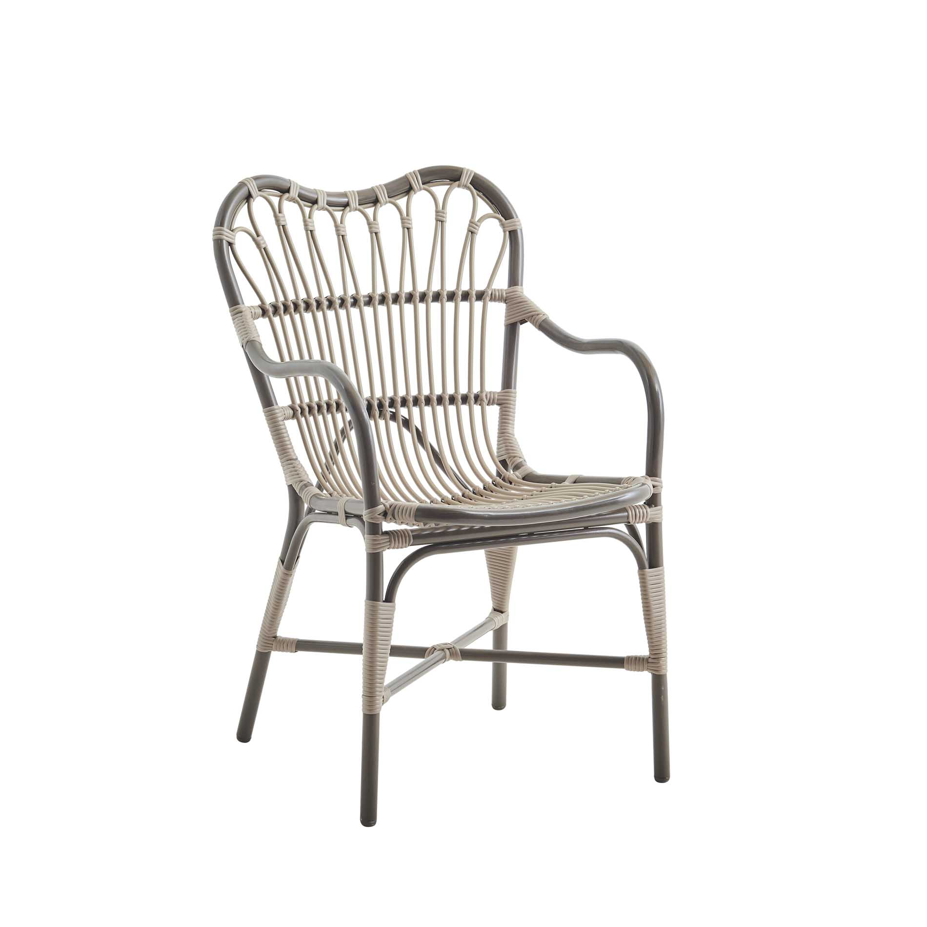 Chaise repas en aluminium et fibre synthétique moccaccino