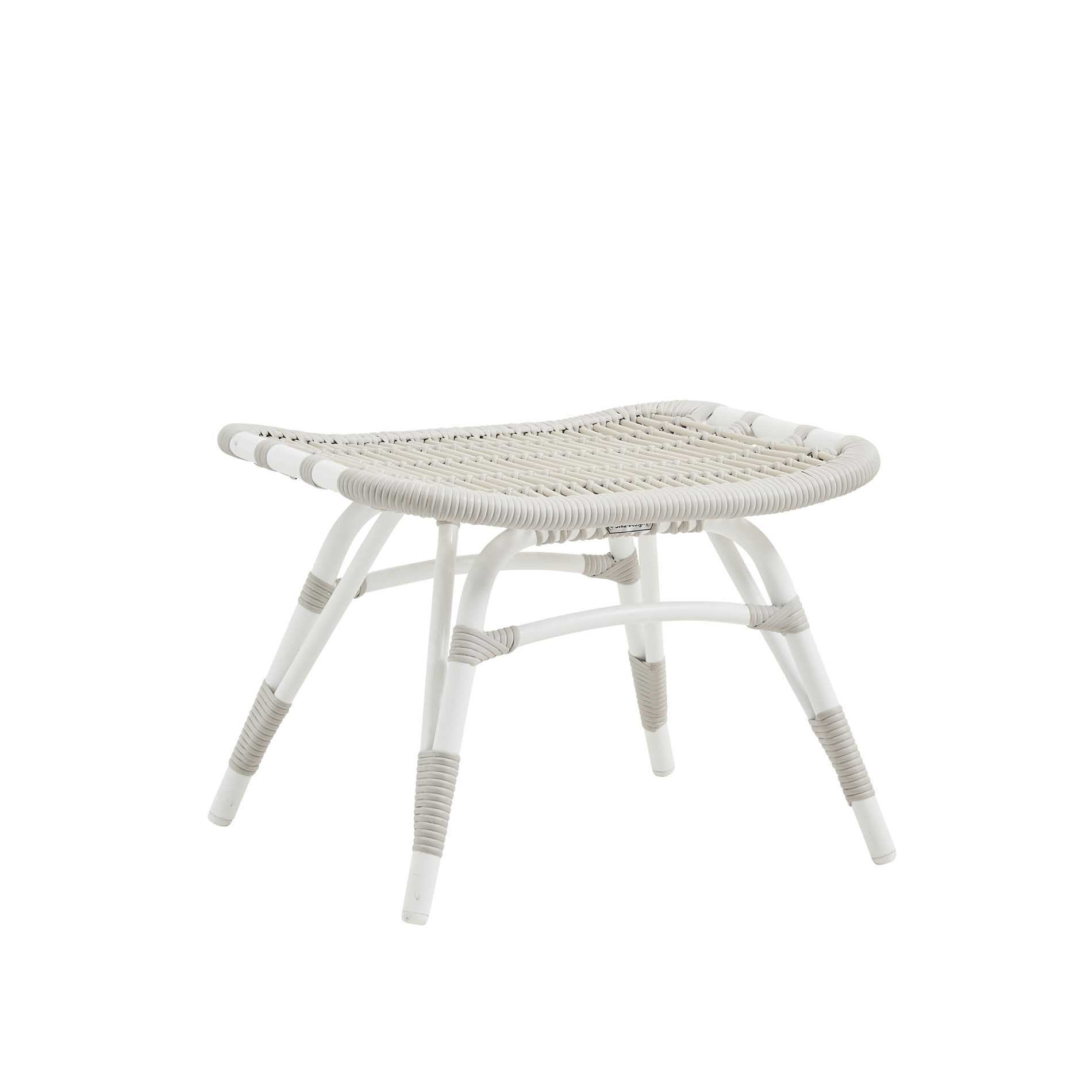 Repose-pieds en aluminium et fibre synthétique blanc