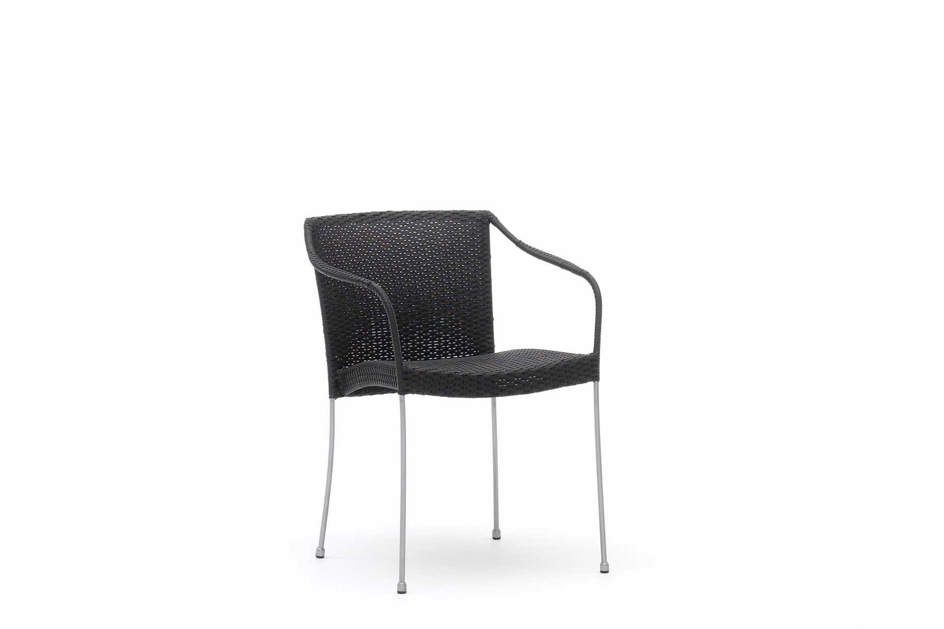 Chaise repas empilable en acier et fibre synthétique noire
