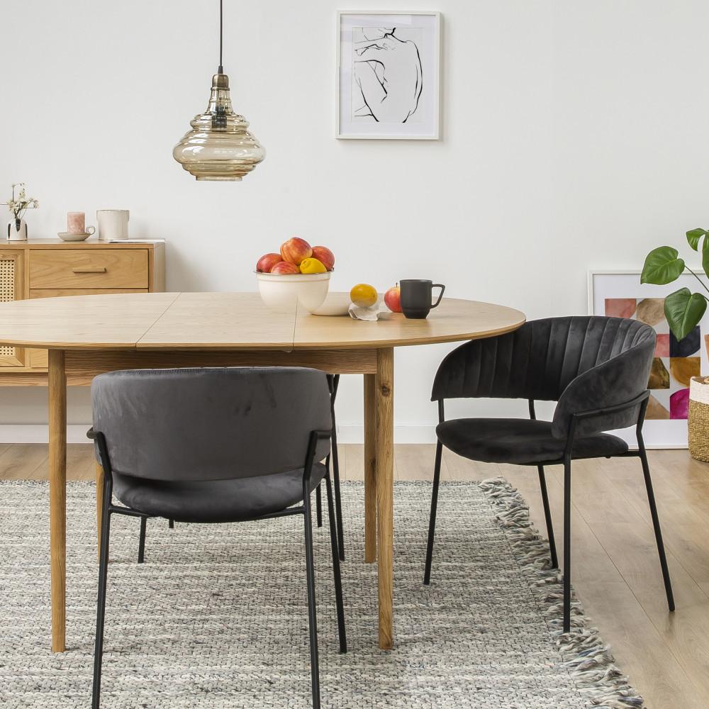 Table à manger ronde extensible 120-155x120cm chêne