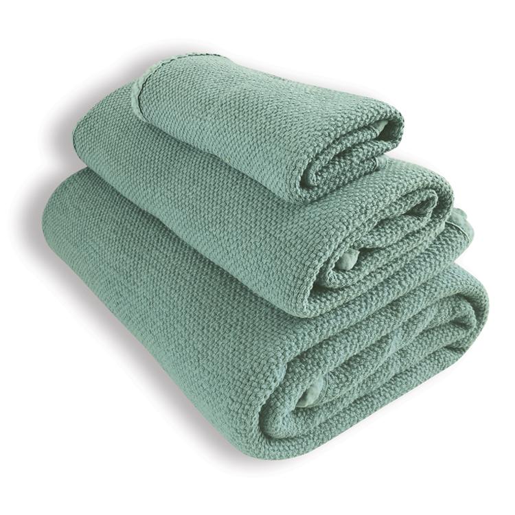 Lot de 3 serviettes vert sage 30X50, 50X100, 90X160