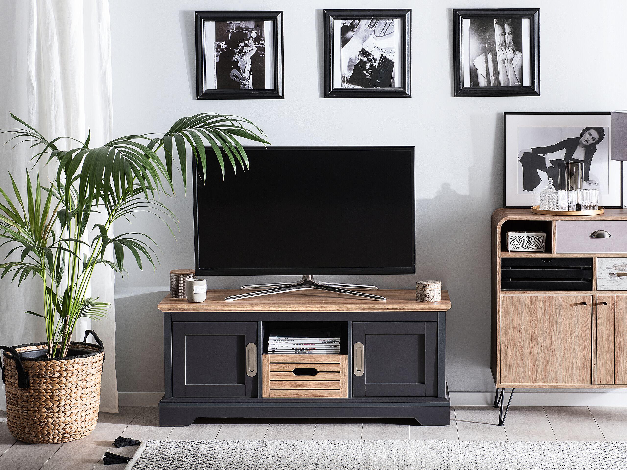 Meuble TV gris foncé et bois clair