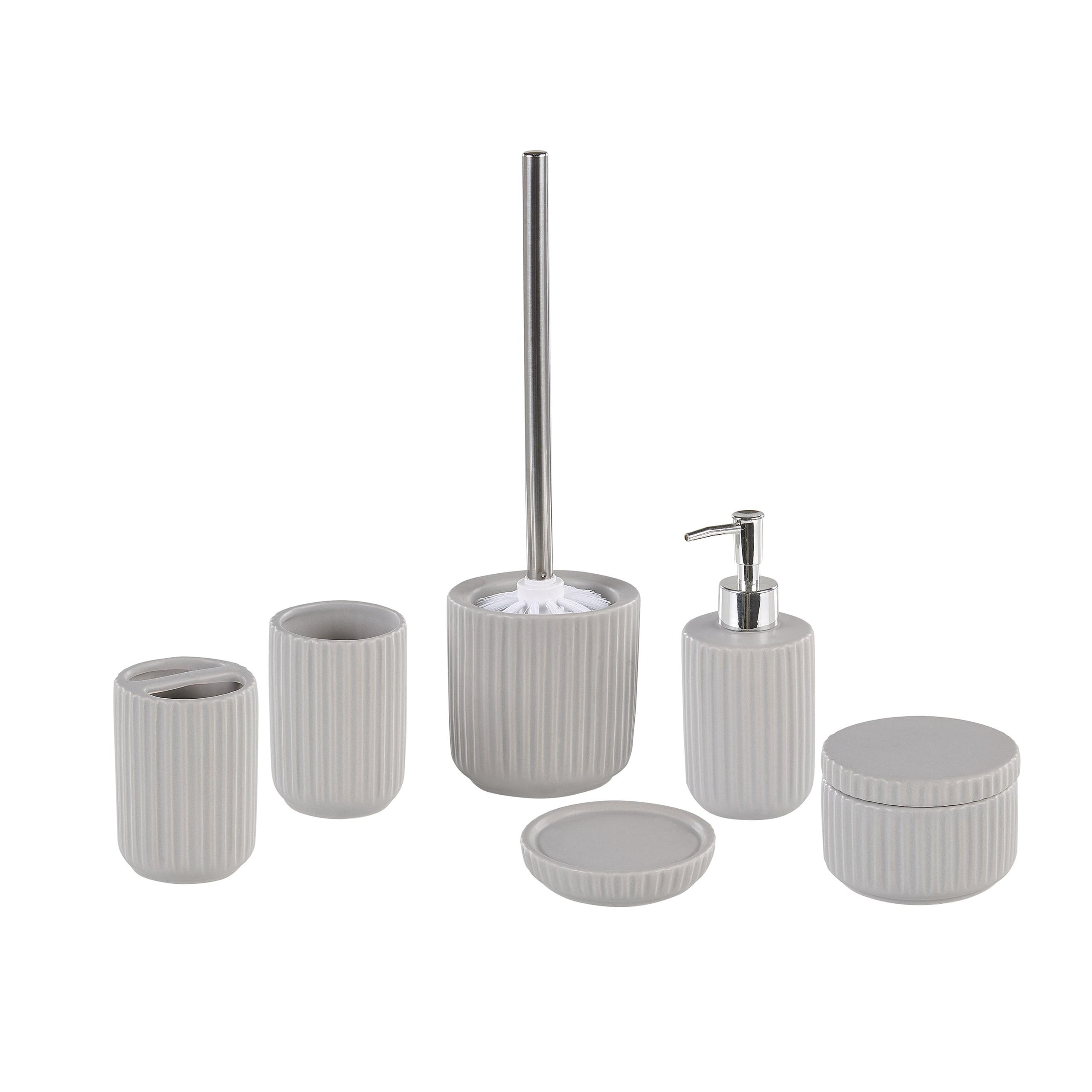 Lot de 6 accessoires de salle de bain en céramique grise