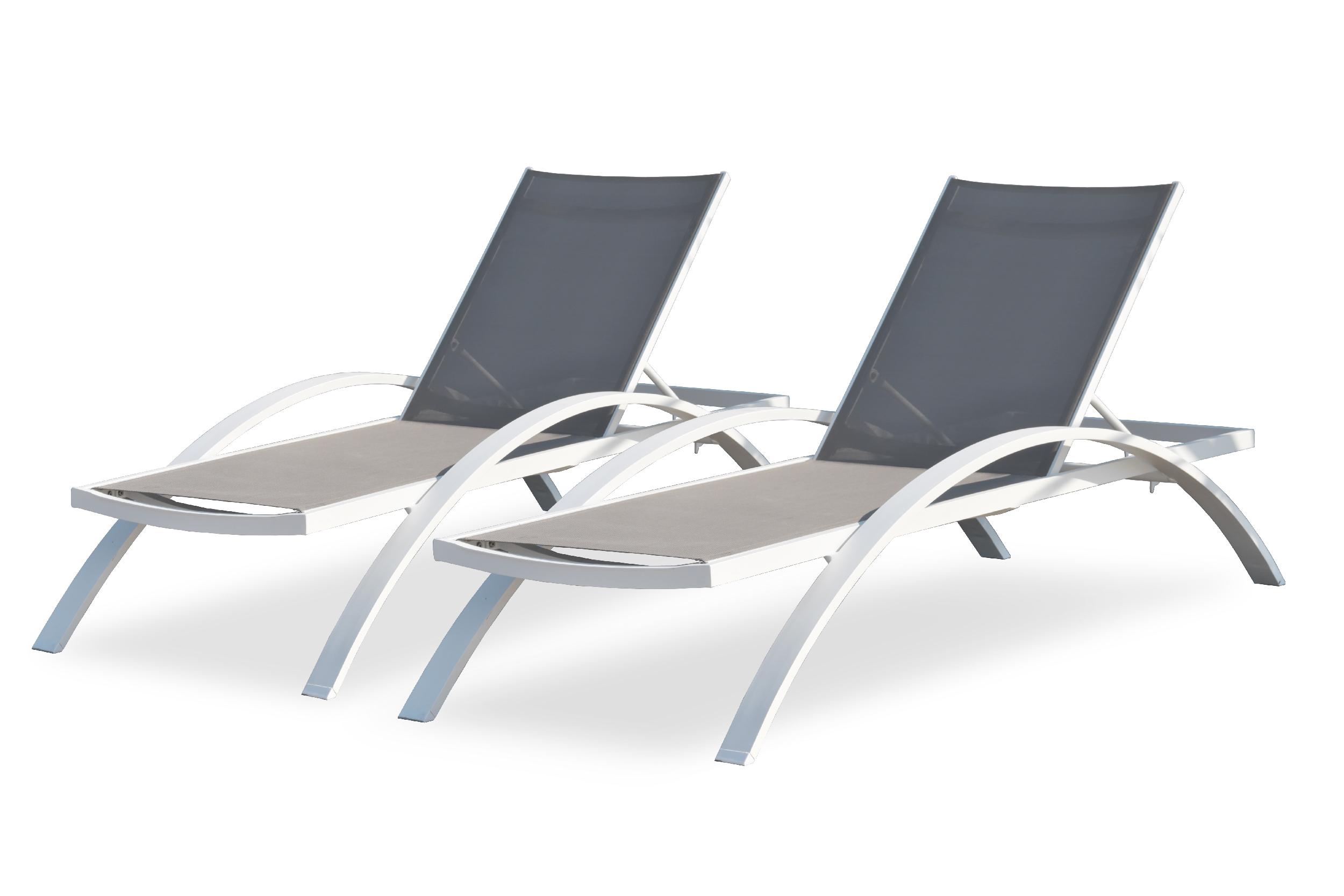 Lot de 2 chaises longues en toile plastifiée taupe et aluminium blanc