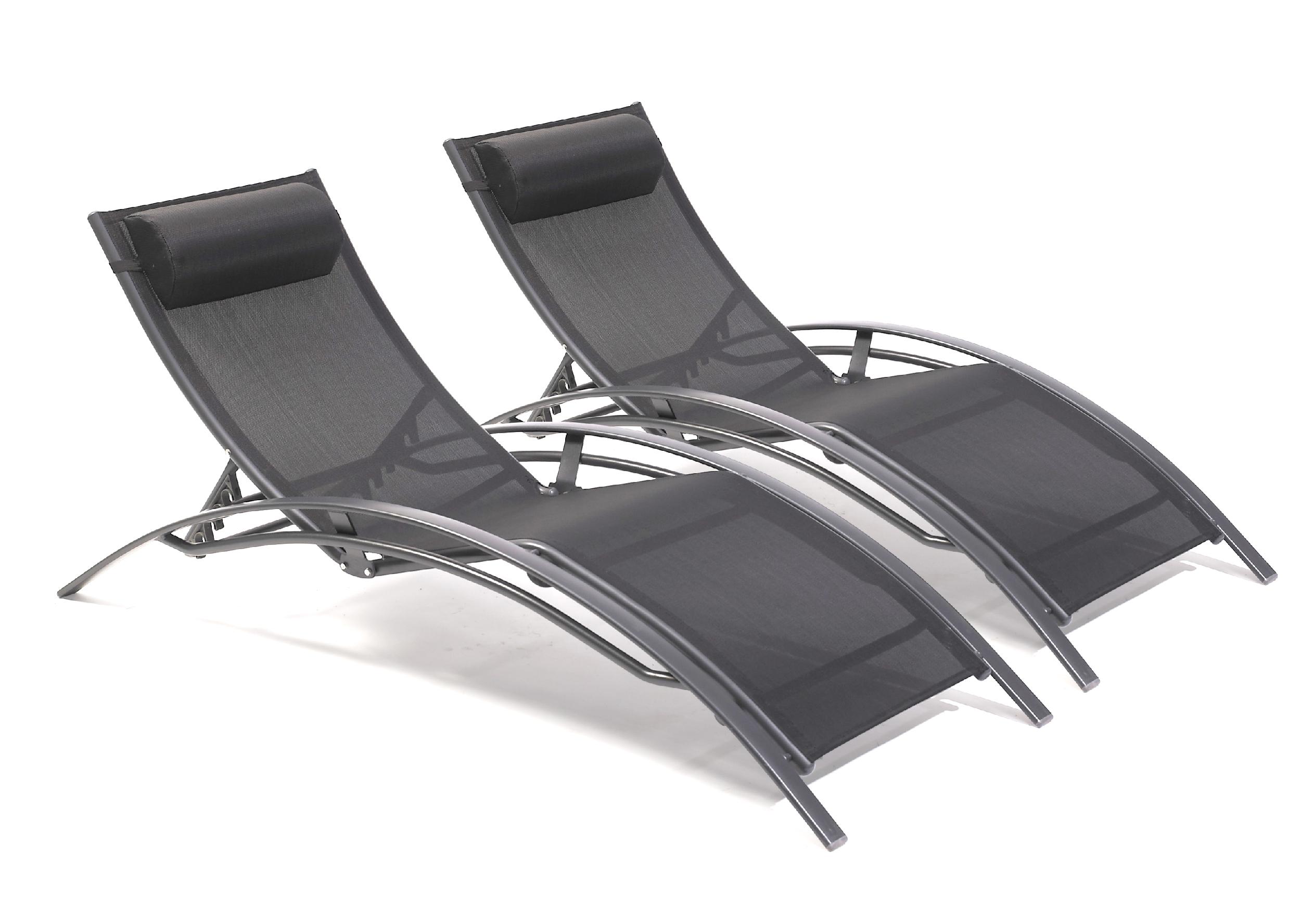 Lot de 2 chaises longues en aluminium et toile plastifiée noire