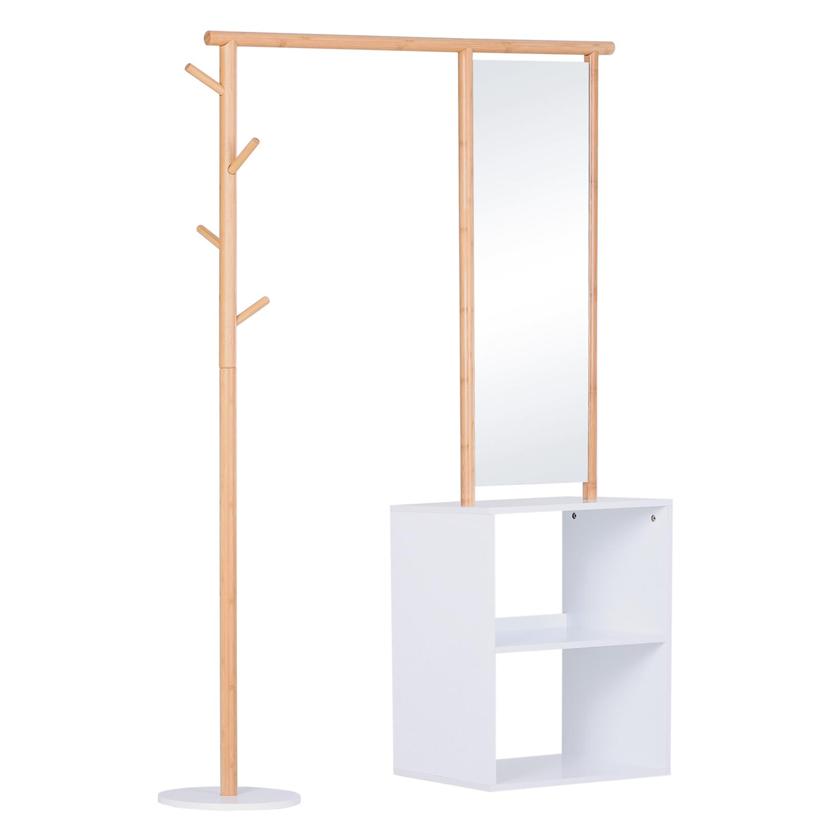 Porte-manteaux meuble d'entrée avec penderie et miroir