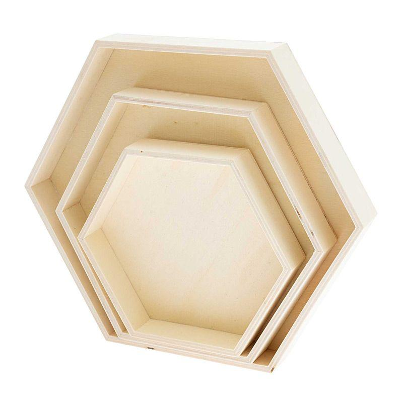 3 plateaux en bois hexagonaux