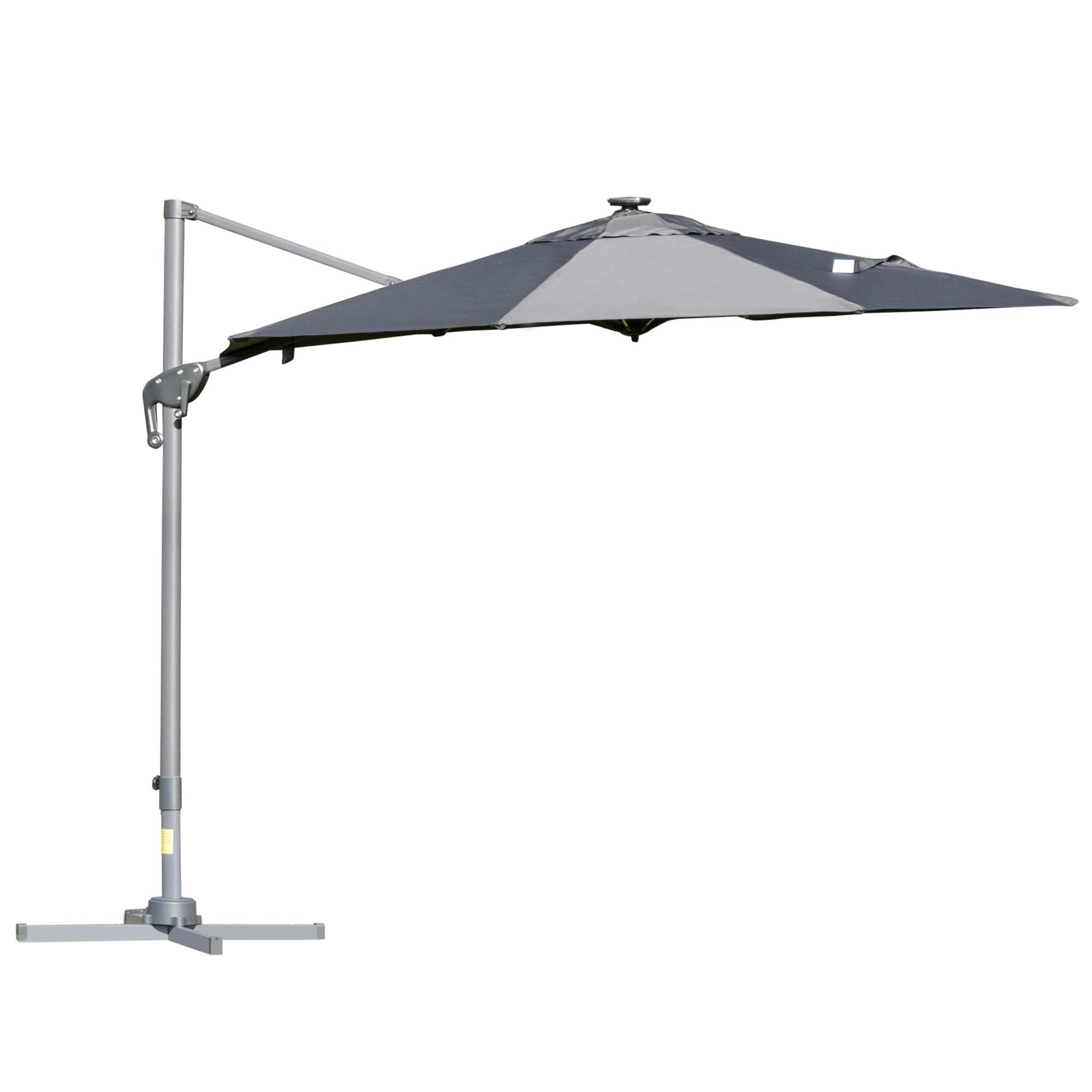 Parasol déporté LED octogonal inclinable pivotant 360° gris