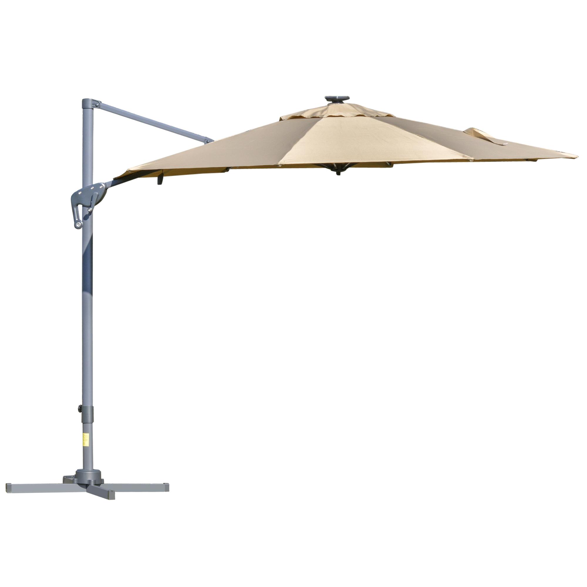 Parasol déporté LED octogonal inclinable pivotant 360° beige