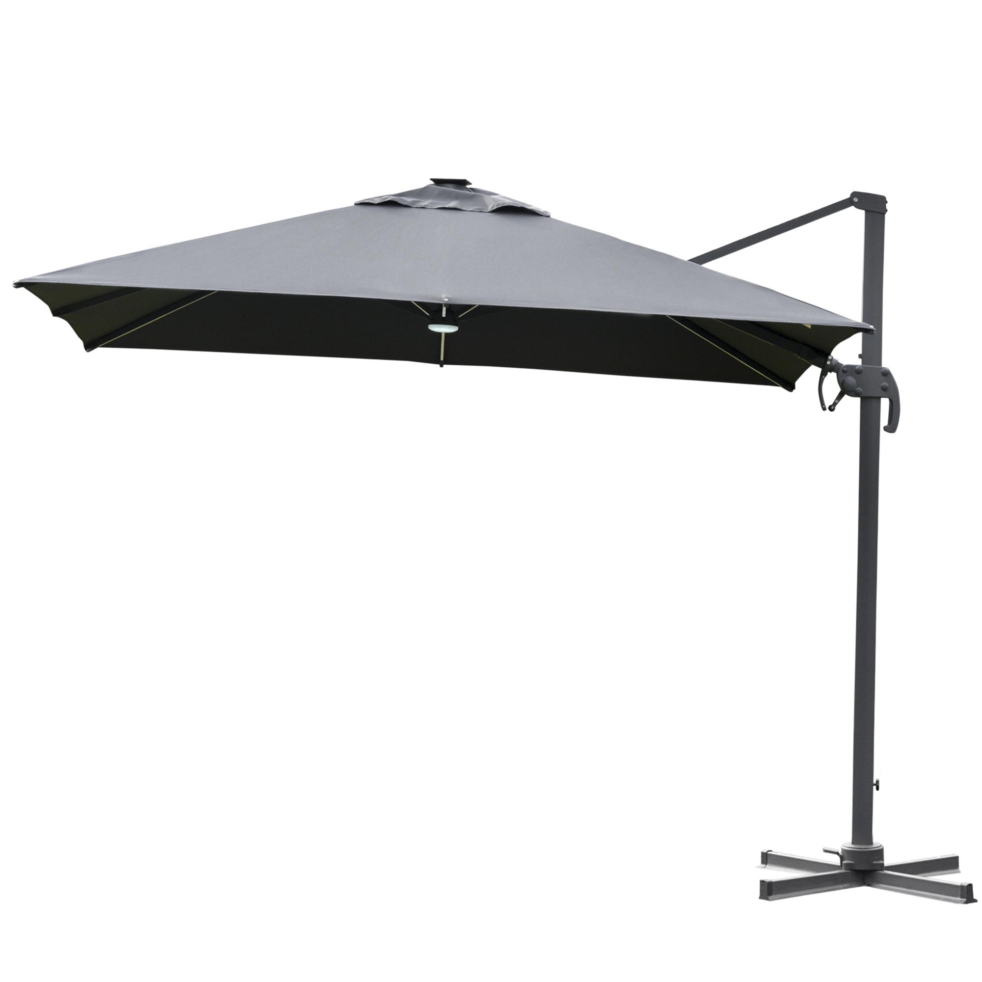 Parasol déporté LED carré inclinable pivotant 360° gris