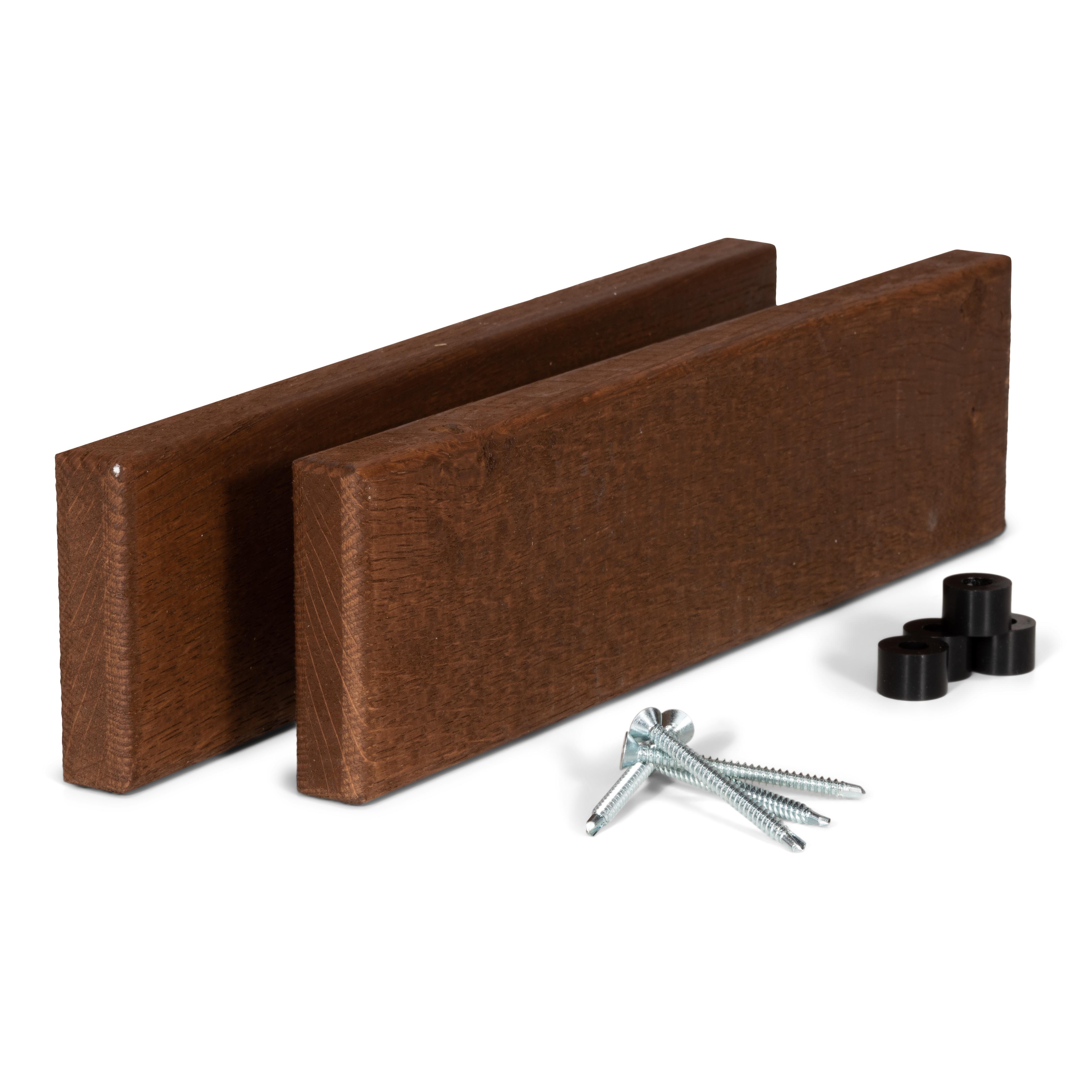 Kit barres latérales avec clés pour bar de balcon en chêne foncé