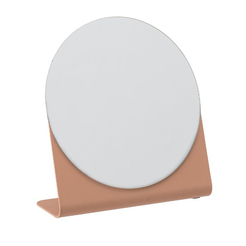 Miroir à poser en métal orange H16cm
