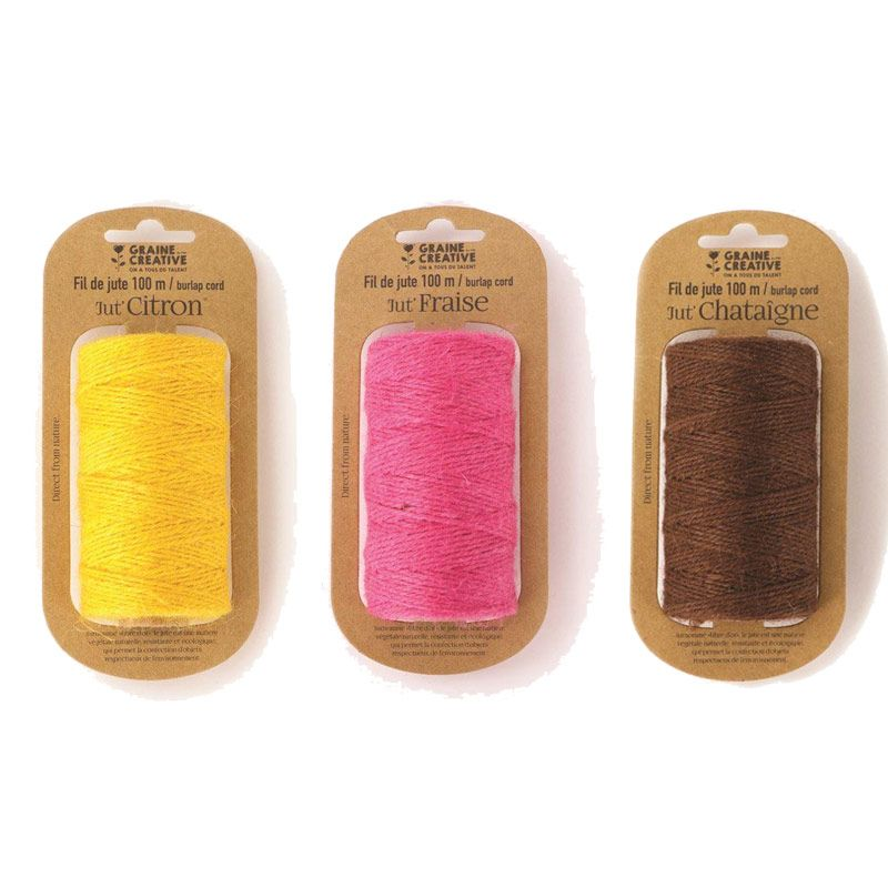3 bobines de fil de jute jaune rose marron 100mx2mm