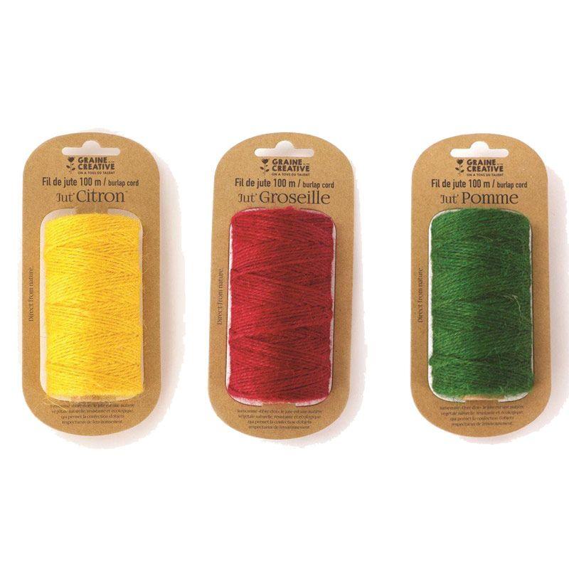 3 bobines de fil de jute jaune rouge vert 100mx2mm