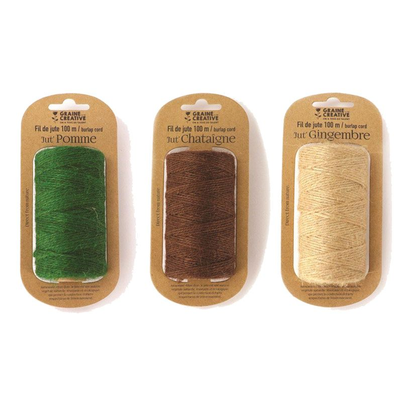 3 bobines de fil de jute vert marron beige 100mx2mm