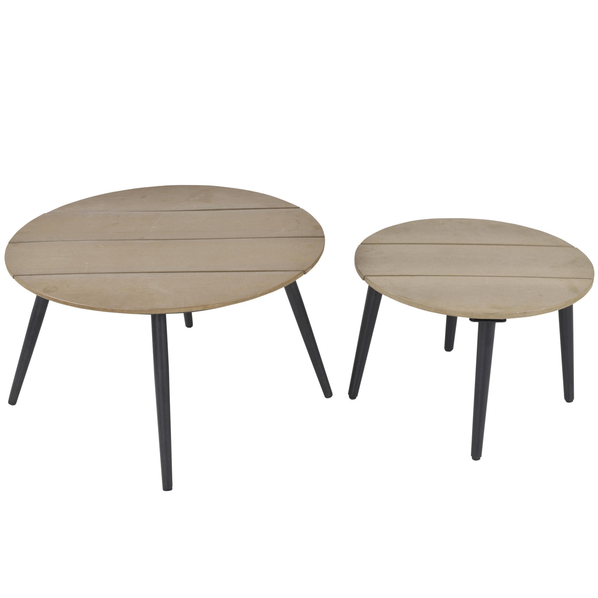 Lot de 2 tables basses gigognes design scandinave bicolore gris noir