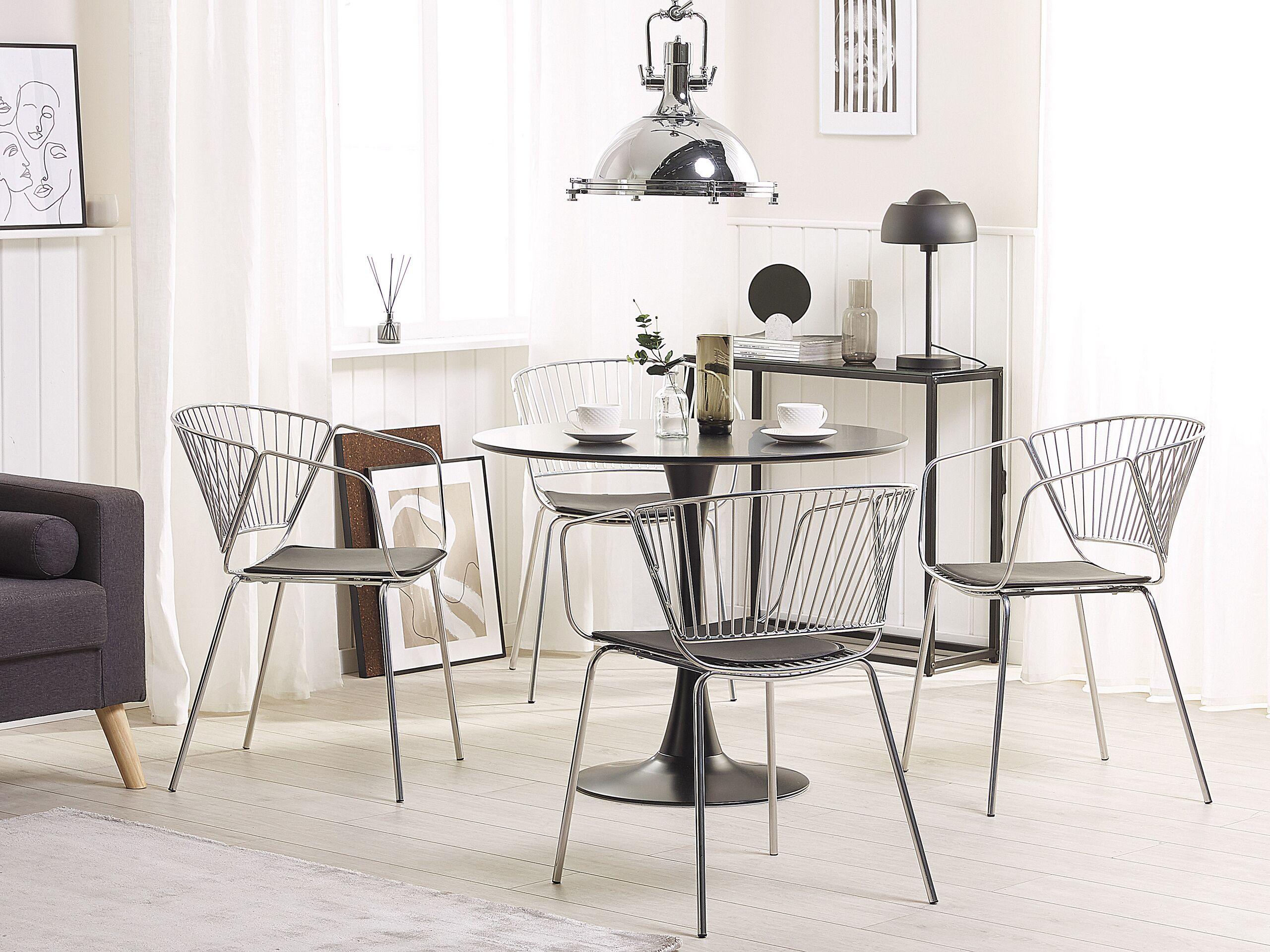 Lot de 2 chaises en métal argenté