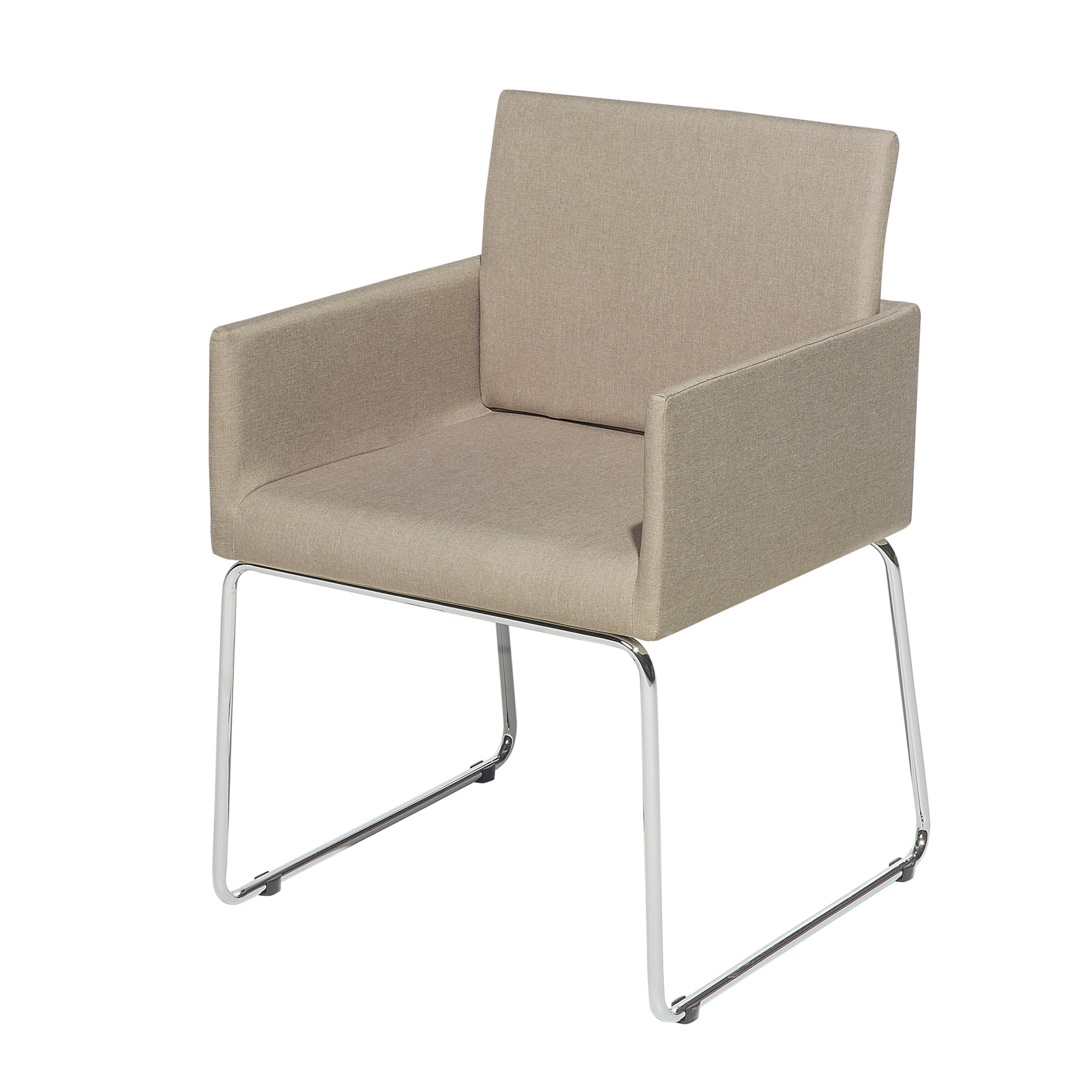 Deux chaises de salle à manger en tissu beige