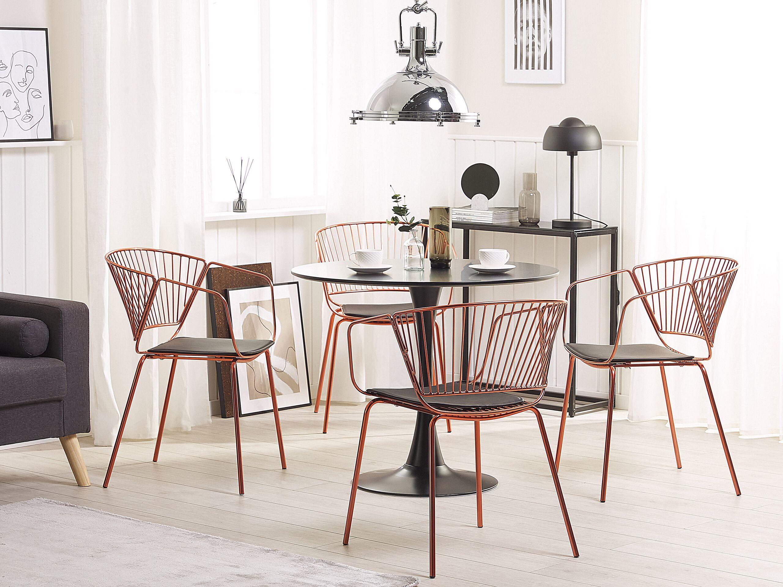 Lot de 2 chaises en métal cuivré