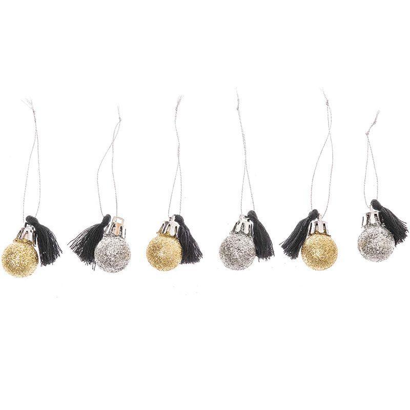 6 mini boules de Noël à paillettes et pompons noirs