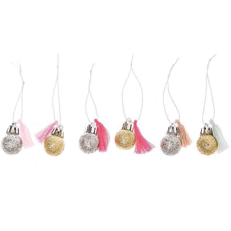 6 mini boules de Noël à paillettes et pompons fluo et pastel