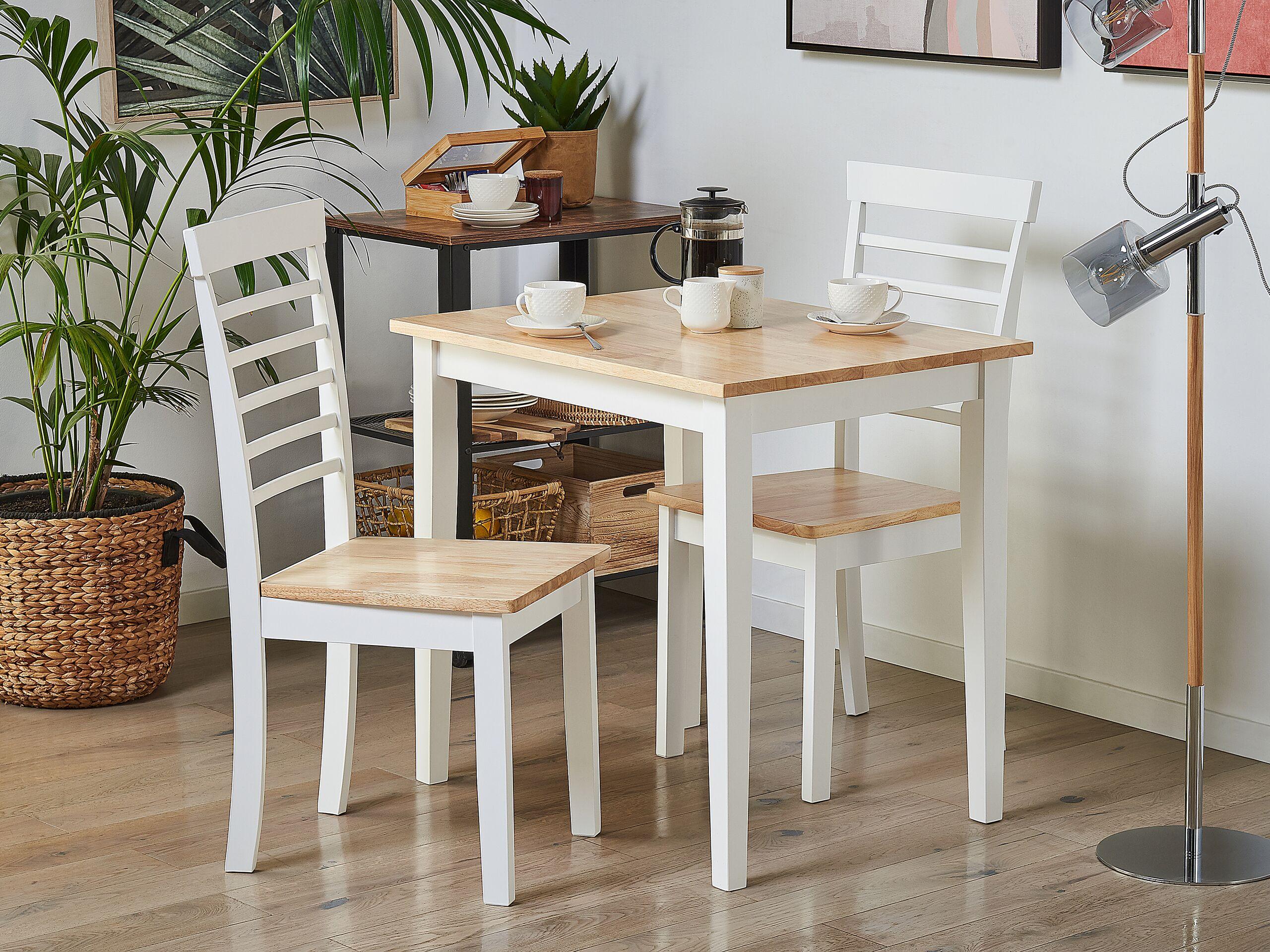 Lot de 2 chaises de salle à manger bois clair et blanches