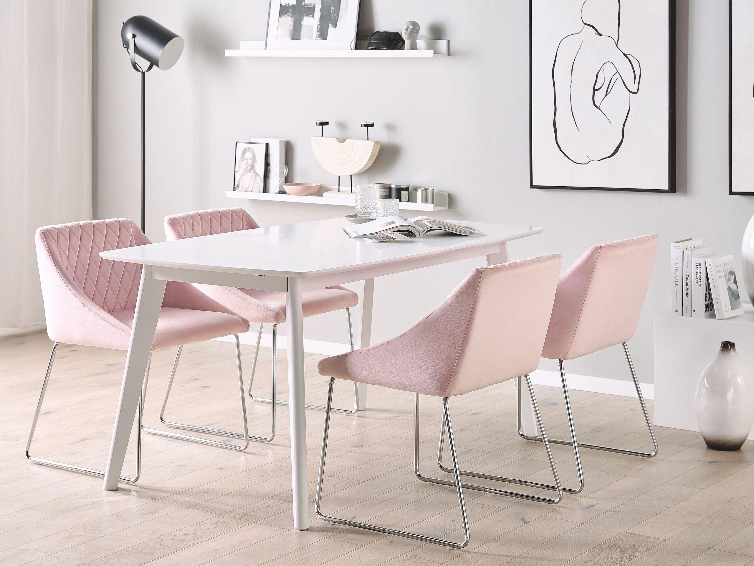 Lot de 2 chaises de salle à manger en velours rose