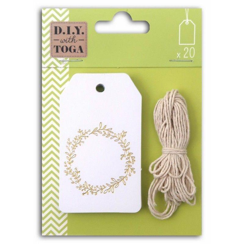 20 étiquettes blanches 4,5x8cm couronne de fleurs dorée & ficelle